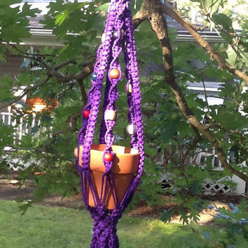 Macrame Plant Hanger, two tier, purple double plant hanger with colorful wooden beads, 4 mm Polyolefin cord, vintage style