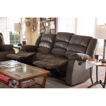 Baxton Studio Hollace Modern and Contemporary Taupe Microsuede 3-Seater Recliner Set of 1