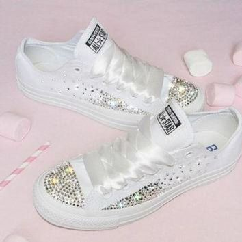 DCCK1IN customised crystal white low top all star converse canvas blinged crystal sides toes