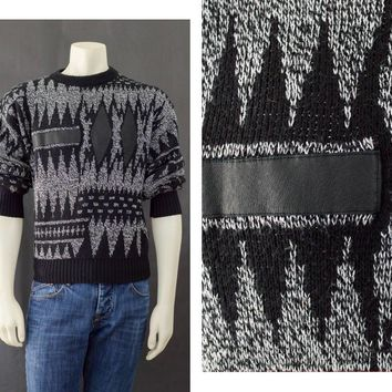 90s Men's Sweater, Pull Over Sweater, Leather Patches, Geo Pattern Sweater, 90s Goth, Black & White Grunge Sweater, Men's Size Medium