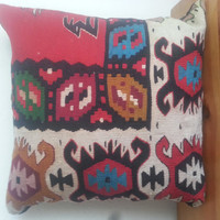 Handwovenp Turkish Rug Pillow Cover, red Pillow, Accent Pillow, Throw Pillow, Kilim Pillow Cover, Vintage Pillow, Cushion cover