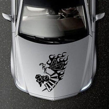 CAR HOOD VINYL DECAL ART STICKER GRAPHICS CRAZY BEE INSECT OS618