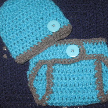 Sky Blue and Gray Baby Diaper Cover and Baby Hat Set Newborn- 3 months Baby Shower Gift, Ready to Ship