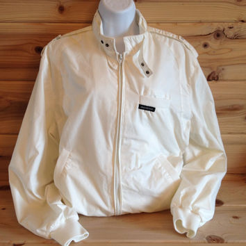 MEMBERS ONLY Vintage Iconic Cafe Racer Zip Front Cream Poly Cotton Jacket Size 40 Rainbow Label Europe Craft