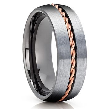 Gunmetal Tungsten Wedding Band - Rose Gold Tungsten - Gunmetal Ring - Braid