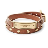 Michael Kors Logo Plaque Leather Wrap Bracelet