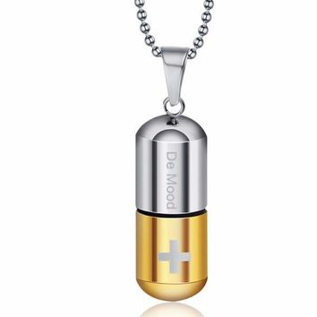 Open Capsule Pendant Necklace For Women Men Perfume Bottle Pill Cross Stainless Steel Bead Chain Necklace For Jewelry