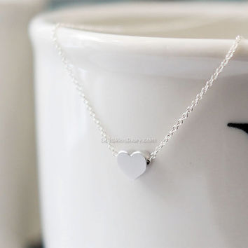 Silver Heart necklace,Tiny hearts necklaces, silver hearts on gold, silver chain...daint, simple, birthday, wedding, bridesmaid