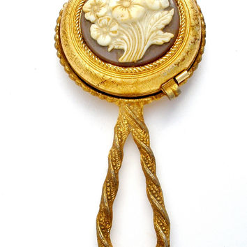 Revlon Hand Mirror Compact with Celluloid Flowers Vintage