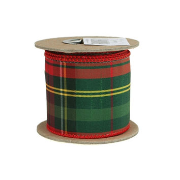 Plaid Tartan Holiday Christmas Ribbon Wired Edge, 2-1/2-Inch, 5 Yards, Red/Green