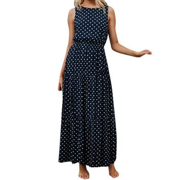 Women Dot Printed Long Dress Ladies O-Neck Summer Sleeveless Party Dresses Keyhole Back Maxi Dress #10