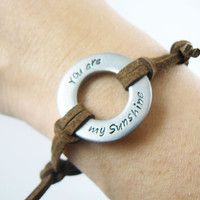 Washer Bracelet , You are my sunshine, Hand Stamped , personalized , Men's or Women's Custom Initial Bracelet , leather band