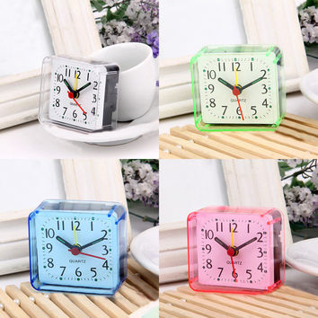 1Pc New Home Outdoor Portable Cute Mini Cartoon Multi-function Trip Bed Beep Desktop Alarm Clock Mini Portable Table Clocks