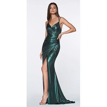 Long Fitted Metallic Gown Teal Ruched Side Sexy Leg Slit
