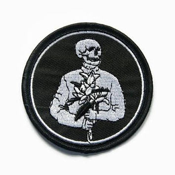 Skeleton Patches - Punk Patches Skull - Embroidered Patch Skeletons - Iron On Patch Punk - Skeleton with Flower Patch - Goth Black and White