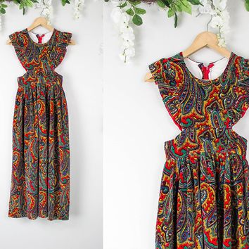 Vintage Velvet Hippie Cut Out Maxi Dress