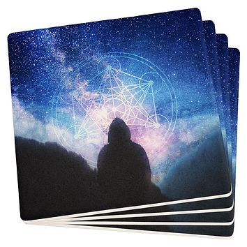 La Fin du Monde Metatron's Cube Set of 4 Square Sandstone Coasters