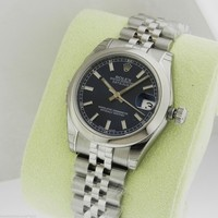 Rolex 178240 31mm Datejust Steel Blue Index Jubilee COMPLETE Retail: $6,300