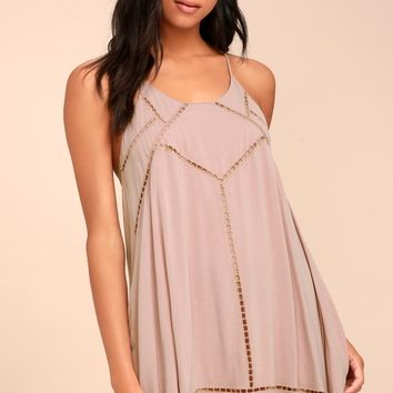 Sister Moon Mauve Embroidered Swing Dress