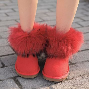UGG Women Fashion Fur Leather Winter Snow Boots Shoes-2