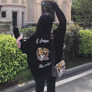 """Gucci"" Women Fashion Letter Tiger Head Embroidery Multicolor Long Sleeve Loose Hooded Sweater Pullover Tops"
