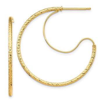 14k Yellow Gold 1.5 x 30 mm D/C with Polished Wire Hoop Earrings