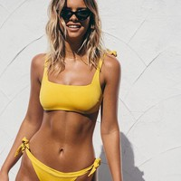 Yellow Tie Shoulder Square Neck Bikini Set