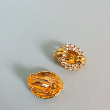 Vintage Gold And Rhinestone Chain Link Clip On Earrings