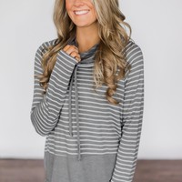 Shades of Cool Striped Cowl Neck Top ~ Light Grey
