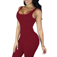 Burgandy Double Scoop Sleeveless Jumpsuit