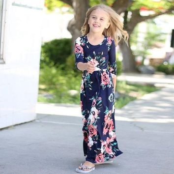 2018 Girls Cute Hit Color Casual Cotton Maxi Dress
