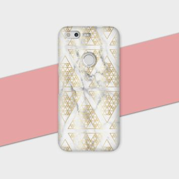 Gold Triangle White Marble