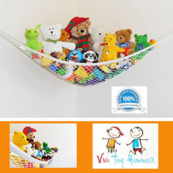 Viva Jumbo Toy Hammock - Deluxe Three-Sided Hanging Toy Storage Solution To keep Rooms Tidy - White - Expands To 72 x 48 x 48 Inches - Creative Bedroom Furniture - Teddy Bears - Balls - Stuffed Animals - Linen Storage & Gear - 100% Guarantee