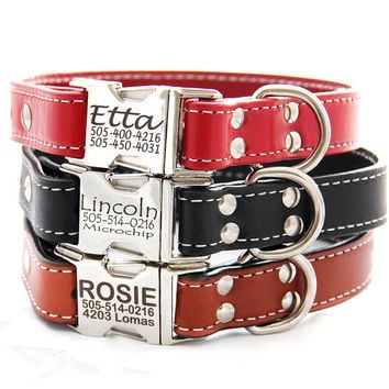 Engraved Buckle Personalized Leather Dog Collar -- 4 colors to choose from