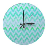 mint chevron clock