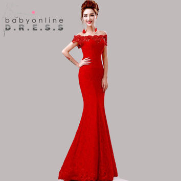 Under $50 Elegant Crystal Beaded Red Royal Blue Lace Mermaid Long Evening Dresses 2016 Prom Party Dress Robe De Soiree Longue