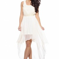Cream Sequin Top Chiffon Back High-Low Sleeveless Dress
