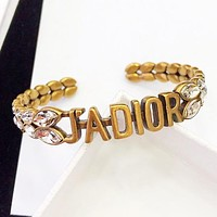 Dior New fashion letter more diamond women opening bracelet Golden
