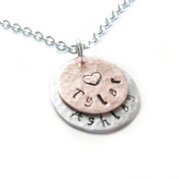 Two Layered  Hand Stamped Personalized Hammered Necklace