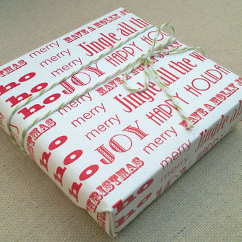 Christmas sayings Red on White Wrapping Paper for Small Gift