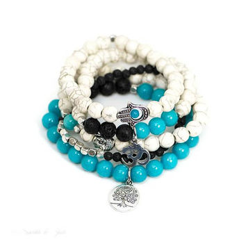Blue Jade Mala Natural Stone Tree of Life, Buddha, Hamsa & Ohm / Om Bracelet Set