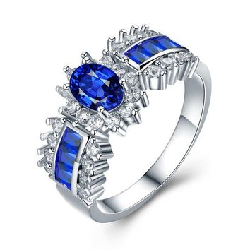 White Gold Color Engagement Rings Wedding blue AAA Zircon Fashion Jewelry Bague Size 5-12