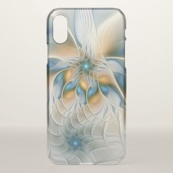 Soaring, Abstract Fantasy Fractal Art With Blue iPhone X Case