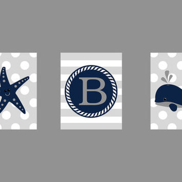 Monogram Letter, Navy Gray, Whale Starfish, Nautical Theme, CUSTOMIZE YOUR COLORS, 8x10 Prints, set of 3, nursery decor print art baby decor