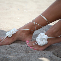 Ivory flower Beach wedding barefoot sandals, bangle, wedding anklet