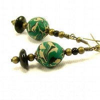 Emerald Green Dangle Polymer Clay Earrings