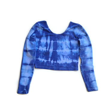 Tie Dye Long Sleeve Crop Top American Apparel Tie Dyed