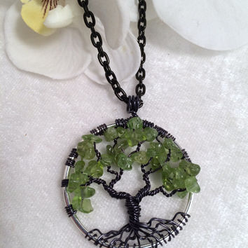 Tree Of Life Necklace Peridot Pendant On Black Chain Wire Wrapped Wedding Jewelry August Birthstone Jewelry