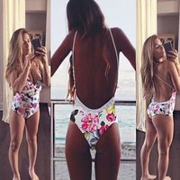 Deep V Backless Print One Piece Swimsuit Swimwear