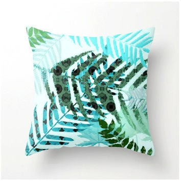 On the Forest Floor botanical decor decorative pillow colorful accent cushion home decor tropical beach coastal design teal turquoise green